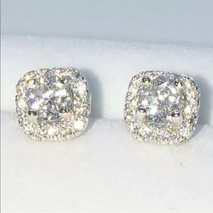 New White Gold on 925 Solid Silver Studs Earring